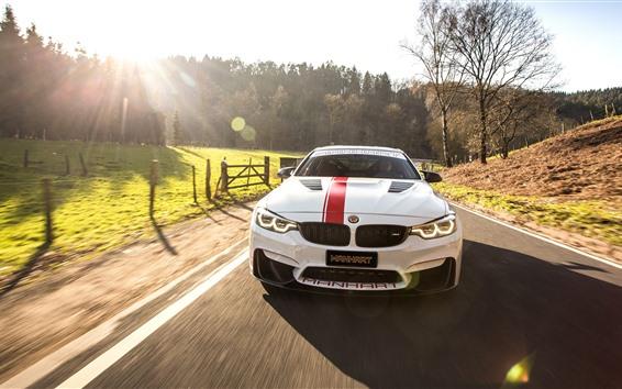 Wallpaper BMW M4 white car front view, racing