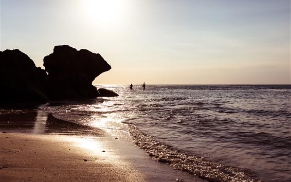Fond d'écran Bali, Indonésie, mer, vagues, soleil, rochers