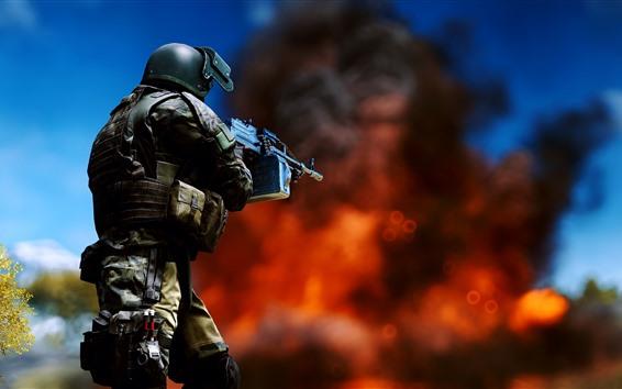 Wallpaper Battlefield 4, soldier, weapon, fire