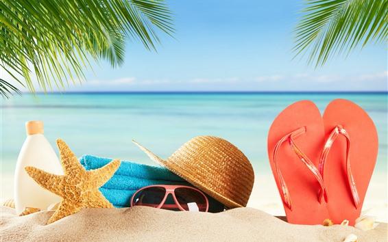 壁紙 ビーチ、砂、眼鏡、ヒトデ、帽子、フリップフロップ