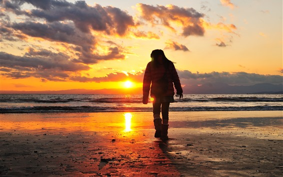 Wallpaper Beach, sea, sunset, girl back view