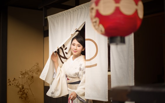 Wallpaper Beautiful Japanese girl, kimono, smile, lantern