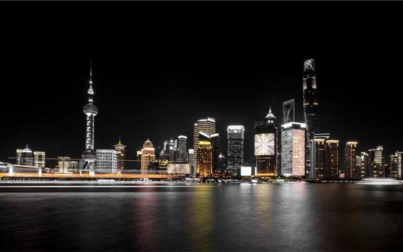 Fondos de pantalla Hermosa ciudad de Shanghai en la noche, rascacielos, río, luces, China