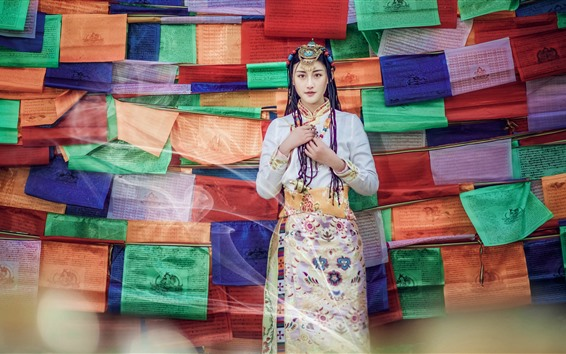 Wallpaper Beautiful Xinjiang girl, hairstyle, colorful background