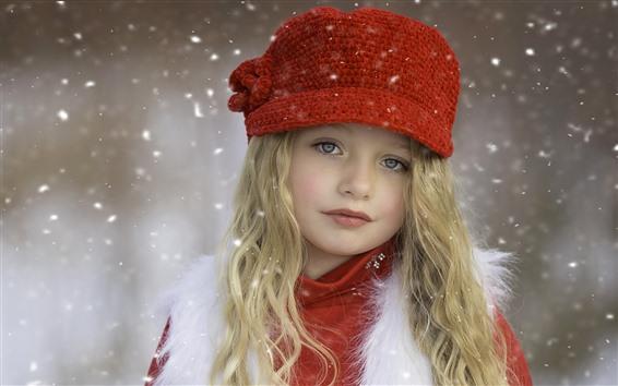 Fondos de pantalla Hermosa niña rubia, niño, sombrero, nieve