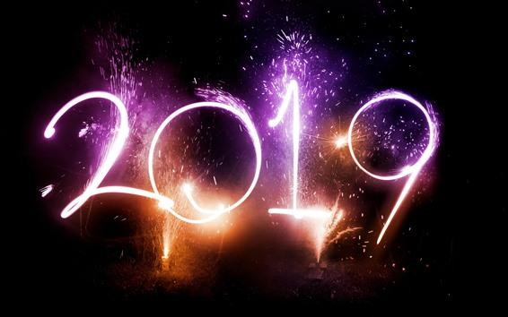 Papéis de Parede Fogos de artifício bonitos, Feliz Ano Novo 2019, noite