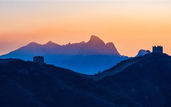 Обои Красивый закат, горы, Великая китайская стена