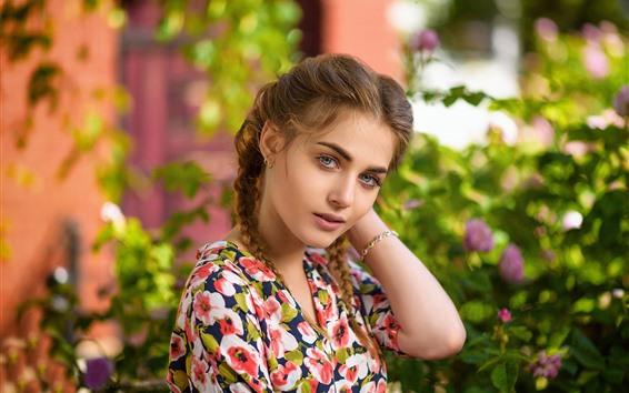 Wallpaper Beautiful young girl, braids, flowers