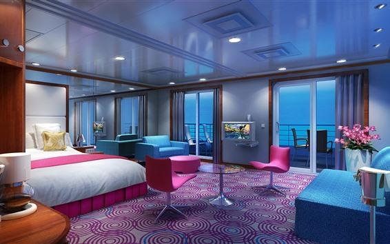 Fond d'écran Chambre à coucher, lit, chaises, fenêtres, lumières, design