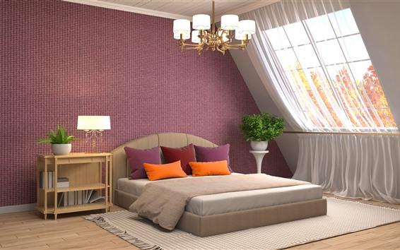 Wallpaper Bedroom, bed, window, chandelier