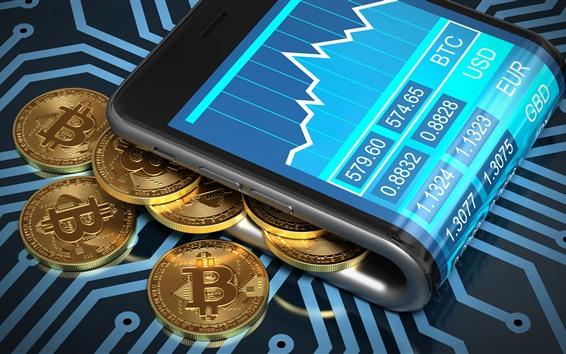 Fondos de pantalla Bitcoin, moneda, dinero digital.