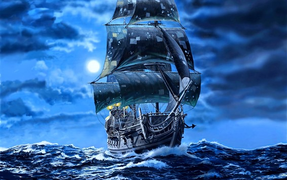 Wallpaper Black pearl sail ship, pirates, sea, art picture