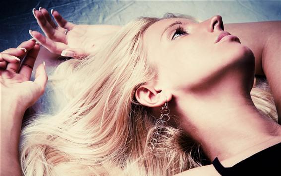 Wallpaper Blonde girl, face, hands