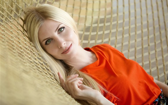 Wallpaper Blonde girl, green eyes, hammock