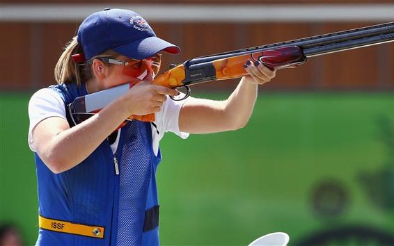 Fondos de pantalla Chica rubia, tiro, rifle, deporte.