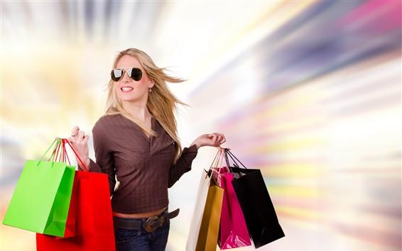 Fondos de pantalla Chica rubia, compras, bolsos, gafas de sol