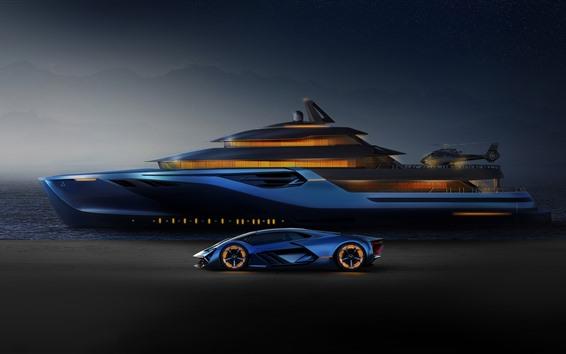 Fondos de pantalla Lamborghini azul, yate, helicóptero