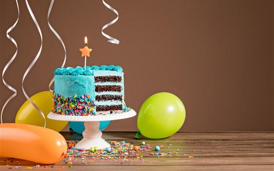 Fond d'écran Gâteau d'anniversaire bleu, coupe, crème, bougie, ballons
