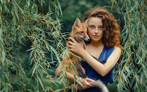 Wallpaper Blue skirt girl and fox, willow