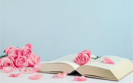 Papéis de Parede Livro e rosas cor de rosa, pétalas