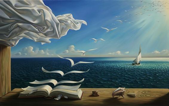 Fondos de pantalla Libro, aves, mar, velero, sol, fotografía artística