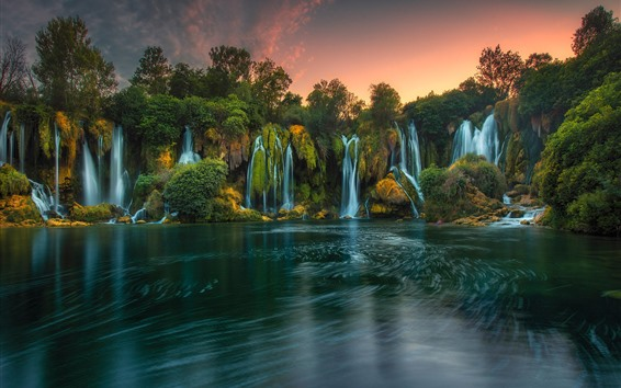 Wallpaper Bosnia and Herzegovina, Kravice waterfalls, lake, trees, dusk