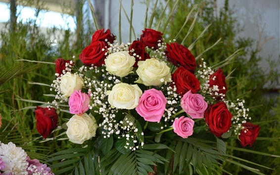 Wallpaper Bouquet, flowers, white, pink, red roses