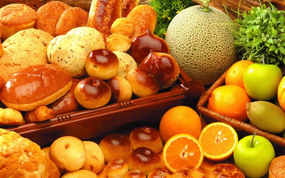 Wallpaper Bread and fruit, melon, orange, apple, food