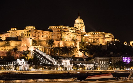 Wallpaper Budapest, Hungary, Buda Palace, buildings, illumination, night