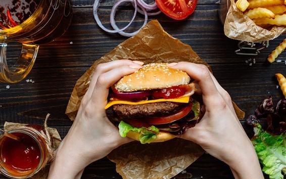 Fondos de pantalla Hamburguesa, comida rápida, manos.