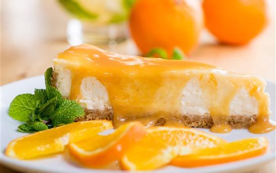 Fondos de pantalla Pastel, queso, rodajas de naranja, postre.