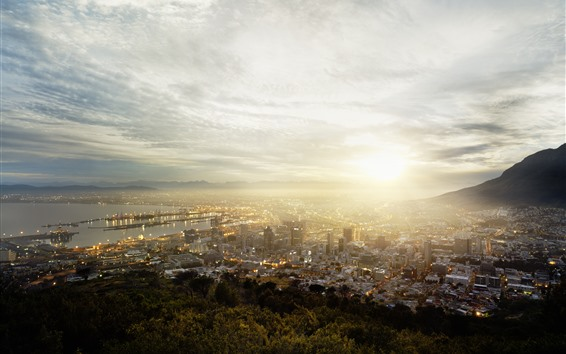 Wallpaper Cape Town, South Africa, city, top view, fog, morning, sunrise