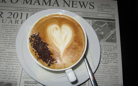 Fond d'écran Cappuccino, café, coeur d'amour, journal