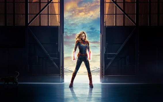 Wallpaper Captain Marvel, Brie Larson, Marvel movie 2019