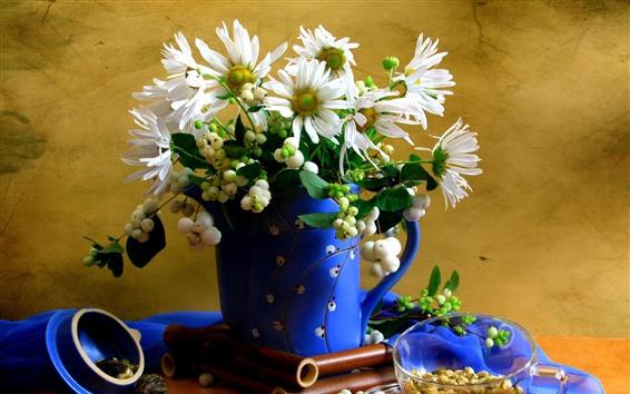 Wallpaper Chamomile, white petals, blue vase