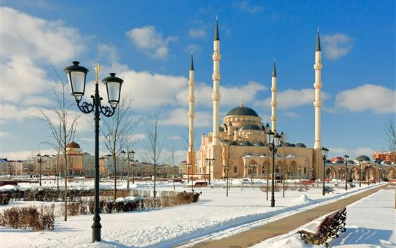 壁紙 チェチェン、モスク、雪、冬、都市