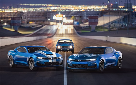 Wallpaper Chevrolet Camaro blue cars