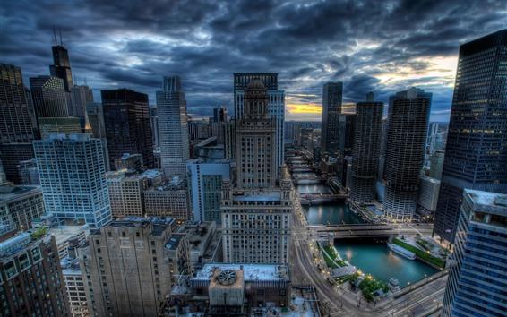 Wallpaper Chicago, skyscrapers, river, bridge, cityscape, clouds, HDR style