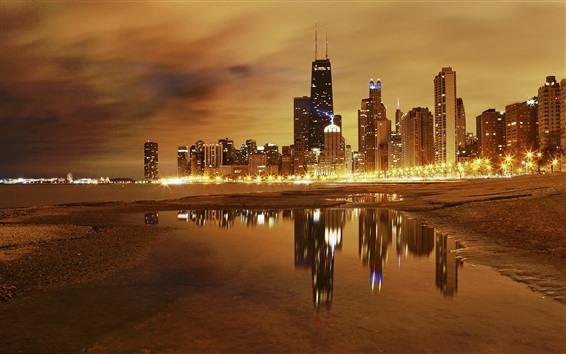 Wallpaper Chicago, skyscrapers, sea, coast, lights, night, USA