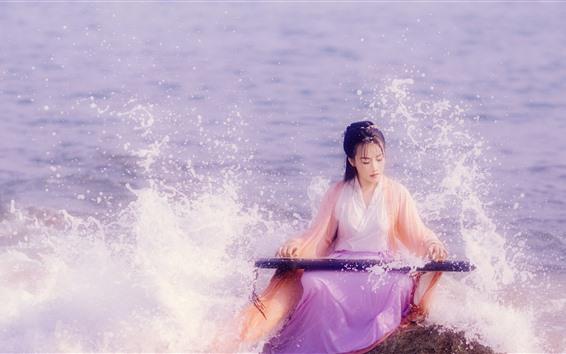 Wallpaper Chinese ancient costume girl, play guzheng at seaside, sea waves