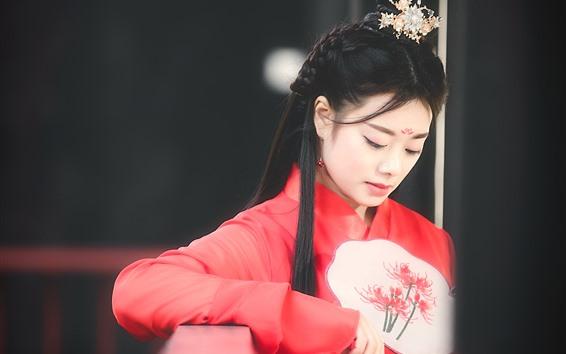 Wallpaper Chinese ancient girl, beautiful, hazy