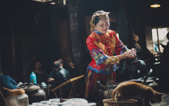 Fondos de pantalla Casa de té china mujer