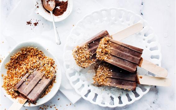 Papéis de Parede Sorvete de chocolate, sobremesa, fundo branco