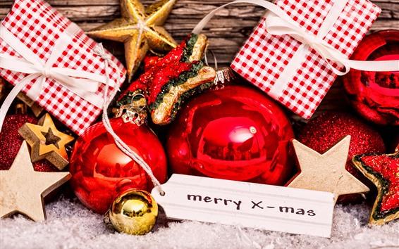 Обои Новогодние шары, подарки, звезды, украшения