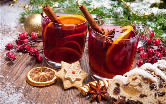 Wallpaper Christmas, cups, tea, cookies, balls, berries, decoration