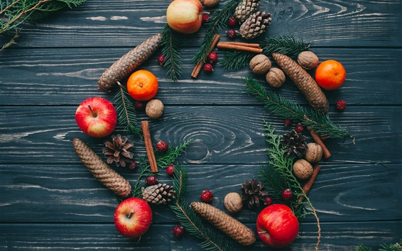 Fondos de pantalla Navidad, adornos, naranjas, manzanas, ramitas de abeto, frutos secos.