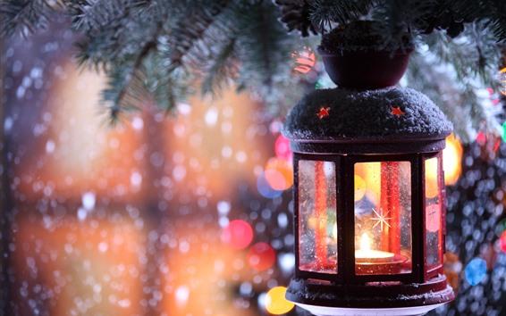 Papéis de Parede Natal, lanterna, neve, noite