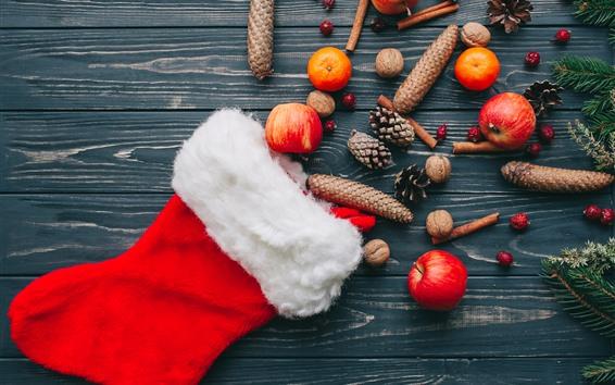Fond d'écran Chaussette de Noël, pommes, oranges, décoration