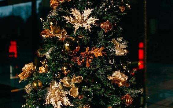 Papéis de Parede Árvore de natal, bolas, decoração
