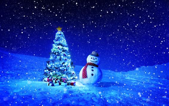 Papéis de Parede Árvore de Natal, presentes, boneco de neve, inverno, neve, estrelada, noite